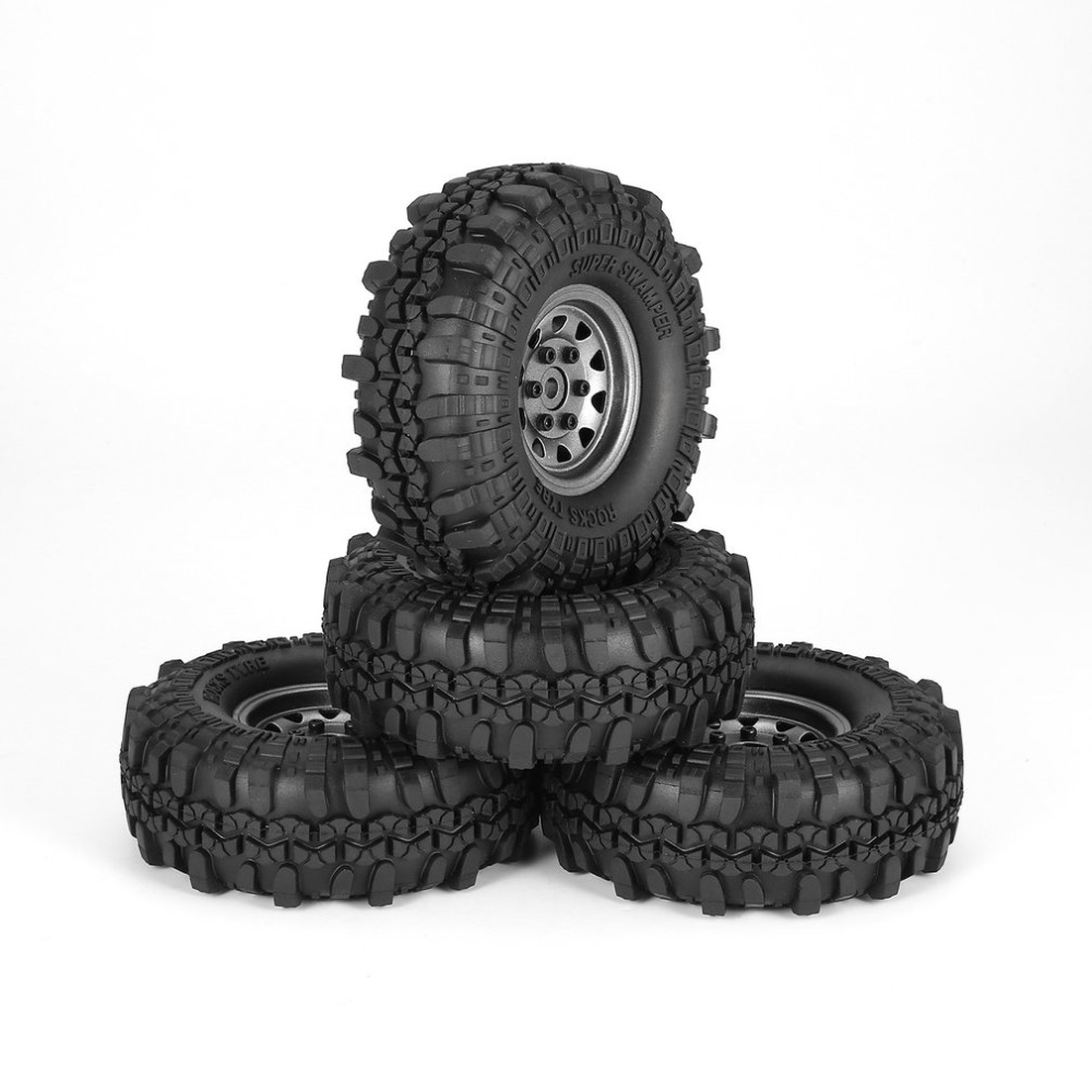 4Pcs 1.9 Inch 110mm Rubber Tires Tire with Metal Wheel Rim Set for 1/10 Traxxas TRX-4 SCX10 RC4 D90 RC Crawler Car Part 4pcs d1rc 1 10 super grip rc crawler car 3 2 inch rc thick wheel tires with sponge for 1 10 rc crawler