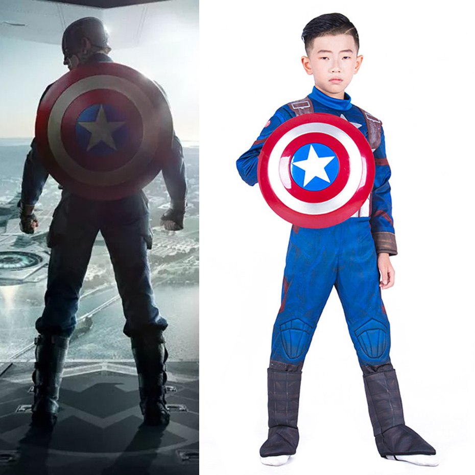 Captain America Cosplay Costume Children And Men And Women Anime Fantasy Comic Movie Carnival Party Purim Halloween