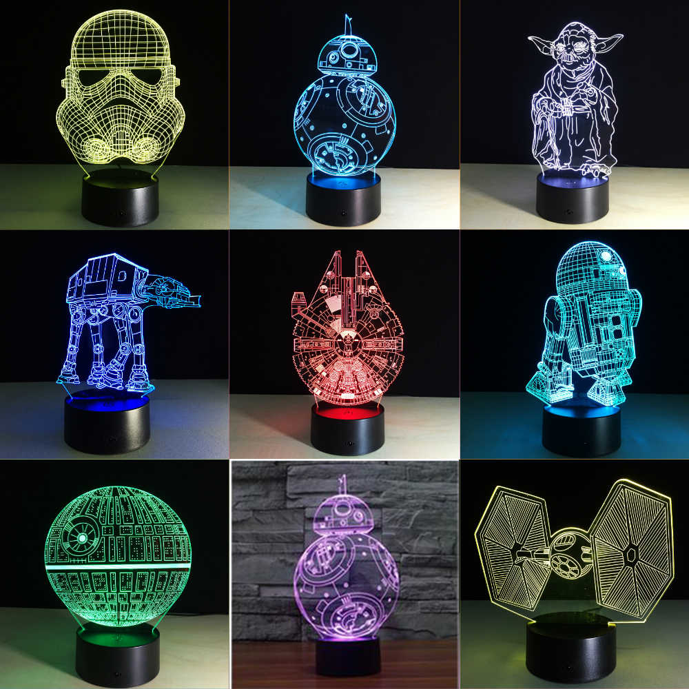 2019 Star War 3D Lâmpada Morte Estrela Stormtrooper Guerra Darth Vader Yoda Jedi Night light luzes LED decoração do quarto Dos Desenhos Animados lamparilla