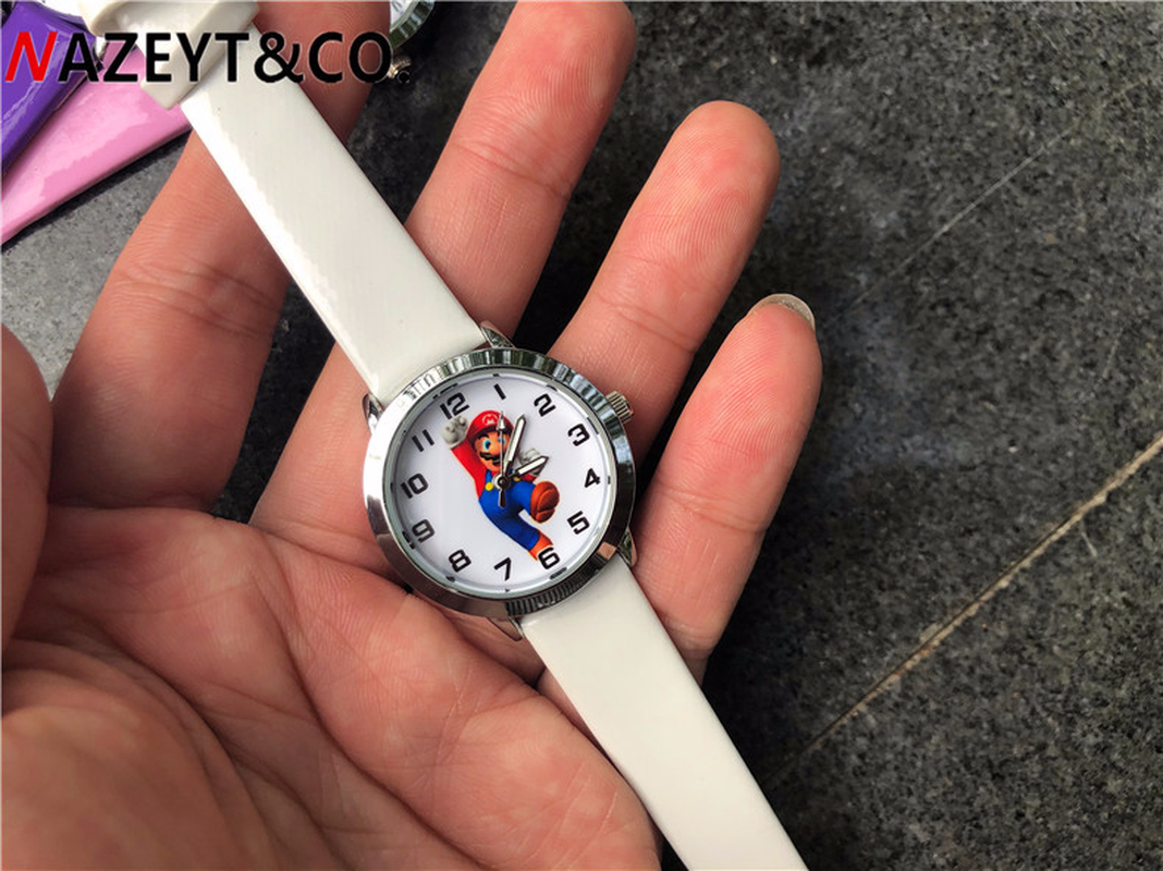 2019 Hot Stijl Trendy Leisure Kinderen Cartoon Mario Kinderen Horloge Basisschool Band Horloge Quartz Horloge
