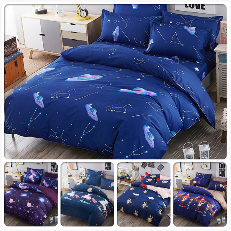 UFO Starry Galaxy Blue Night Duvet Cover Bed Linen 3/4 pcs Bedding Set Kids Bedlinens Full King Queen Double Single Size 1.8m 2m