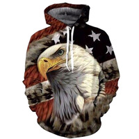 Eagle Print 3D Hoodies Men Sweatshirt Fashion American Flag Hooded Sweats Tops Hip Hop Unisex Graphic