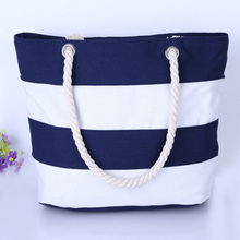 2019 new ultra wild thick hemp rope capacity large fashion casual portable canvas bag shoulder beach stripe green bags