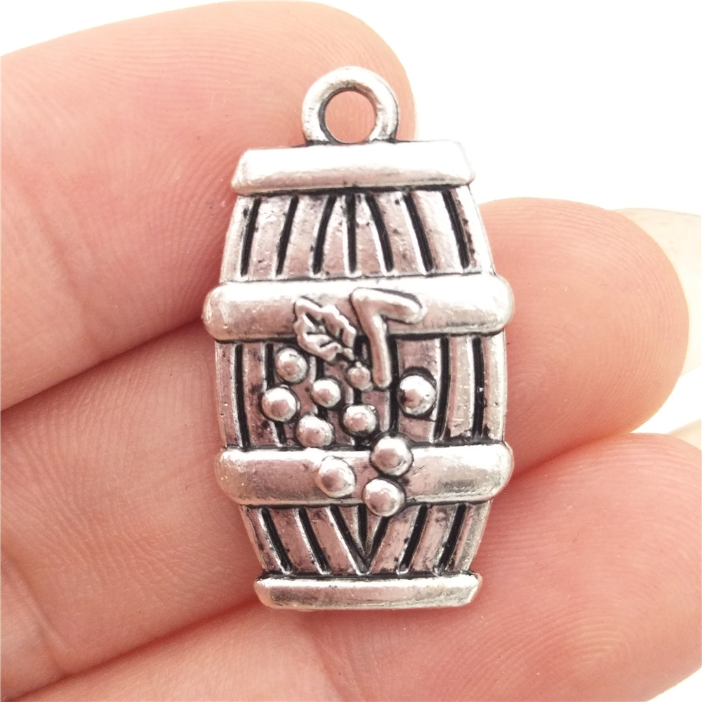 BULK 30 Zinc Alloy Antique Silver Plated Wine Barrel Charms Pendants for DIY Bracelet Making 14*25mm 2.9g