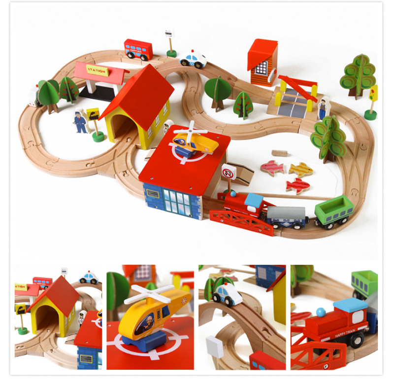 Hot Sell South Korea Authentic Puzzle 69PCS Track Toys Wooden Thomas Train Including Aircraft, Cars, Buses, Gas Station, Trees 1 400 jinair 777 200er hogan korea kim aircraft model