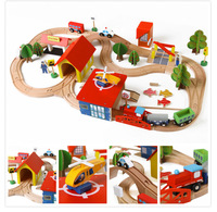 Hot Sell South Korea Authentic Puzzle 69PCS Track Toys Wooden Thomas Train Including Aircraft, Cars, Buses, Gas Station, Trees