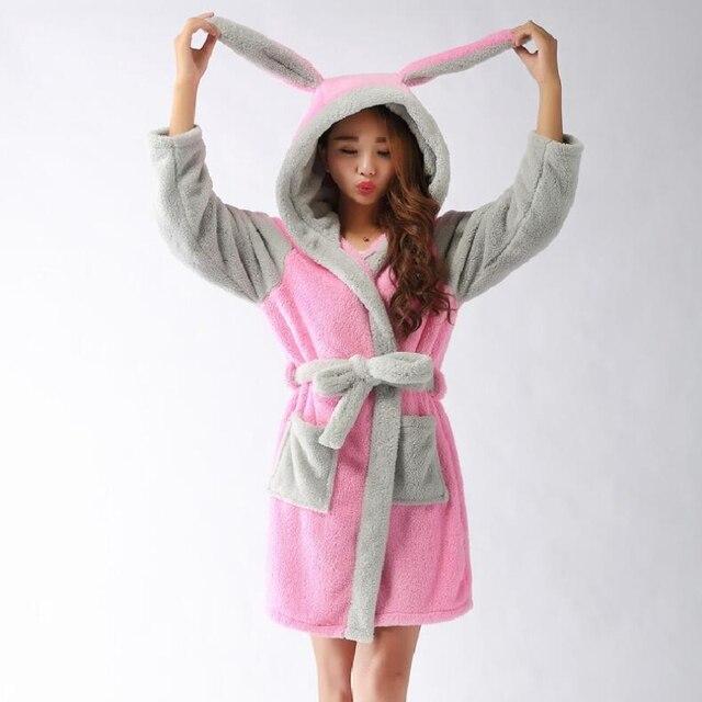 d5c378e40e New Winter Autumn Women s Long-Sleeve Pink Rabbit Bathrobes Thickening Home  Casual Sleepwear Soft Robe