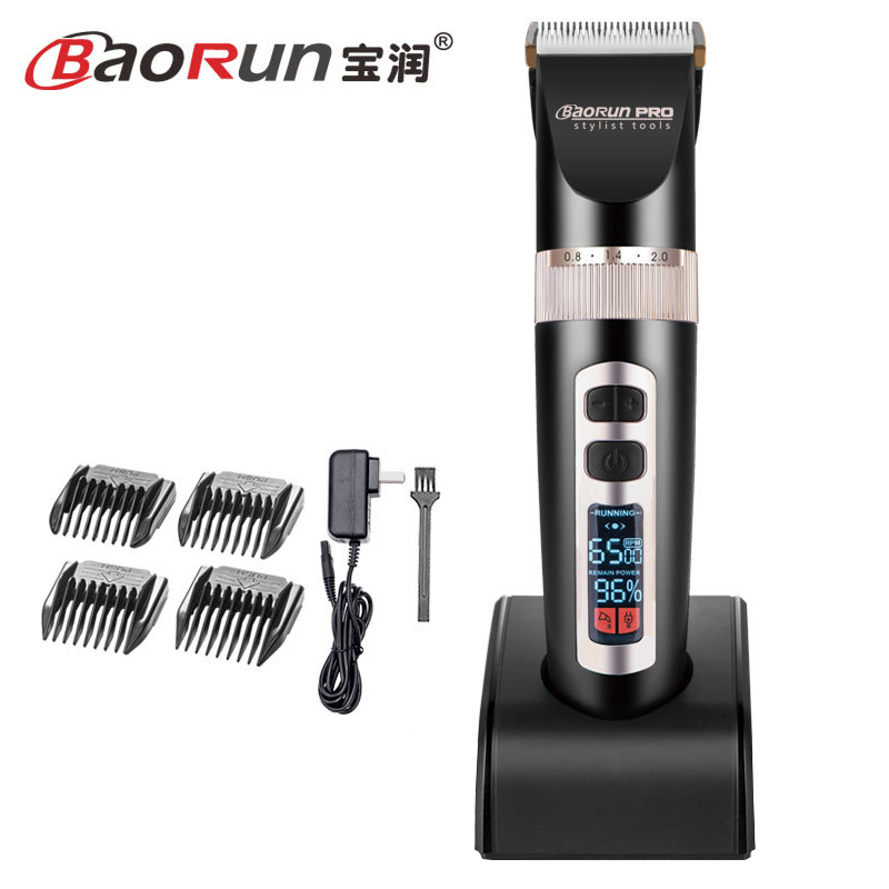 BaoRun Electric Hair Clipper Rechargeable Hair Trimmer Adult Child Mute LCD Hair Cutting Machine Haircut Beard Trimer 110 240V-in Hair Clippers from Home Appliances    1