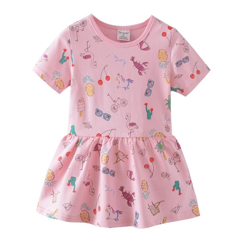 Girls Summer Dress Kids Clothes Princess Dress Animal Appliques Party Dresses