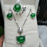 925 Silver Natural Green Jade Women 18K Gold Plated Necklace Earrings Ring Set Jewelry Gift
