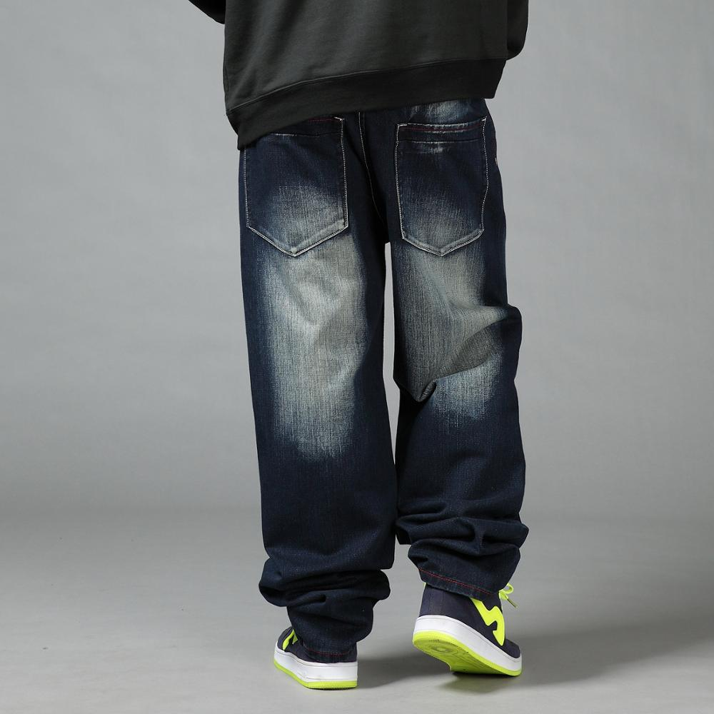 c24a511f0f3 2018 New Over Size Men Loose Jean Baggy Pants Denim Skateboard Wide Leg  Hiphop Trousers 34 44 46-in Jeans from Men s Clothing on Aliexpress.com