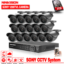 Home 16pcs AHD 1080p 960H 1200TVL 1.0MP CCTV security Camera System 16channel AHD DVR Kit HDMI 1080P NVR system usb 3g wifi view