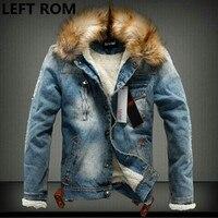 LEFT ROM Fashion Male Winter Added Heat To Keep Warm Heavy Hair Collar Denim Jacket Men