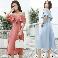 2019 Sweet Summer Women Tunic Dress Vestidos Strap Ruffles Midi Celebrity Evening Party Dress 3Color available