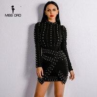 Missord 2018 Sexy New Evening Elegant Dresses O Neck Female Beads Long Sleeve Celebrity Bodycon Fold