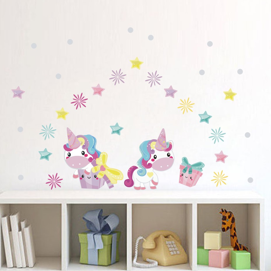 Colorful Rooms For Toddlers: Colorful Cute Unicorns Star Color Wall Stickers For Kids