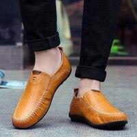Мужская повседневная обувь из натуральной кожи, люксовый бренд 2019, мужские лоферы, Мокасины, дышащие слипоны, черная обувь для вождения, бол...