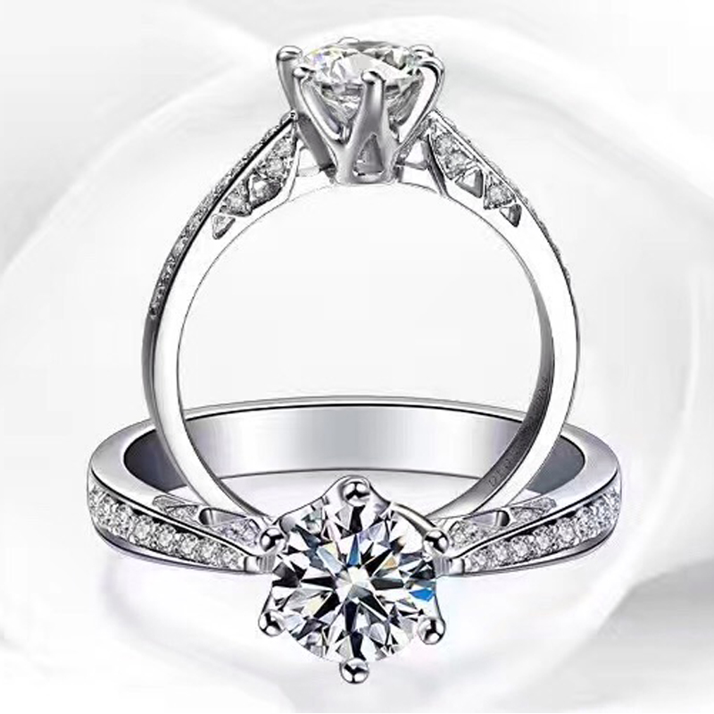 ANI 18K White Gold (AU750) Women Wedding Ring Certified F/SI Luxury 0.66 CT Round Cut 6 Claws Real Diamond Ring for Engagement 18k white gold 1 ct heart shaped wedding ring for lady solid silver synthetic diamond ring for women bb