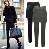 Leggings Women High Waist Plus Velvet Size Fall And Winter Fake Two Pieces Elasticity Thick Pants 6xl