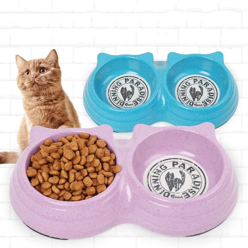 Double Dog Bowl Cat Bowls Pet Cat Feeding Station Natural