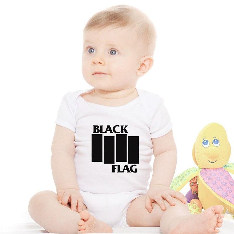 HY0201 Summer Short Sleeve Baby Onesies Black Flag White Unisex Baby Bodysuit