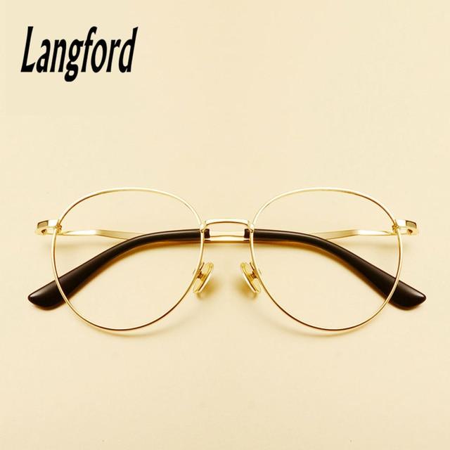 Langford marca Oro ronda anteojos marco óptico gafas vintage grandes ...