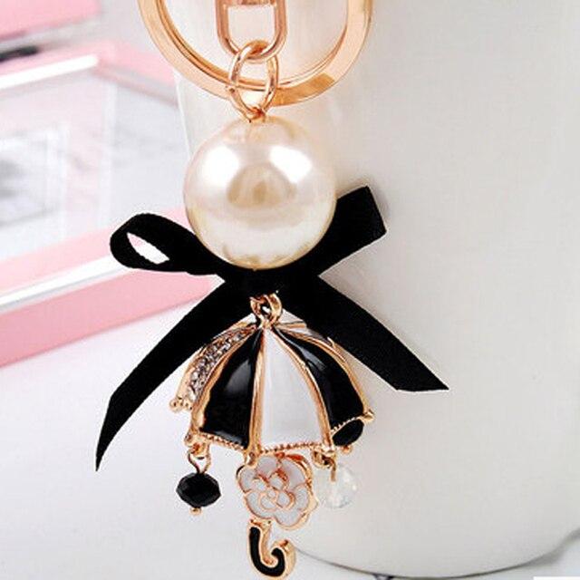 Черный лук зонт перл эмаль брелок/новый 2015 корейский люксовый бренд ювелирные изделия сумка шарм/chaveiro/llaveros/porte clef strass