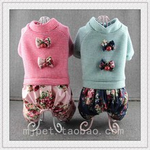 pet striped sweater bow parquet four dog clothes Tactic Bichon autumn and winter clothes