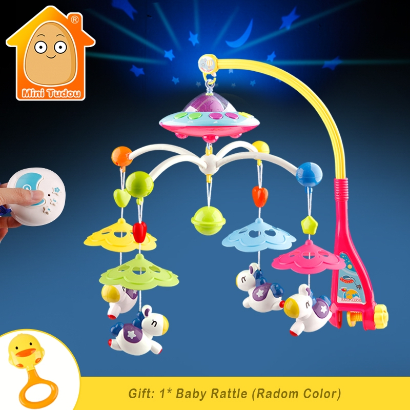 Baby Crib Toy 0-12 Months For Newborn Mobile Musical Box Bed Bell With Animal Rattles Early Learning Kids Educational Toys baby musical crib mobile bed bell baby hanging rattles rotating bracket projecting toys for 0 12 months newborn kids gift