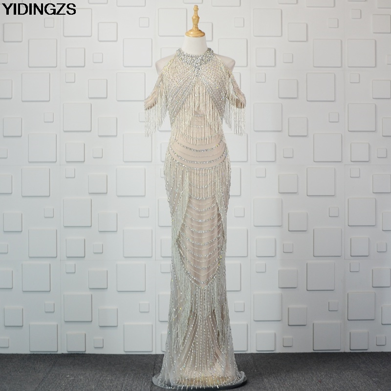 Detail Feedback Questions about YIDINGZS New Champagne Luxury Beading  Mermaid Long Evening Dress Elegant Party Prom Gowns Fast Shipping on  Aliexpress.com ... 8a2180d37290