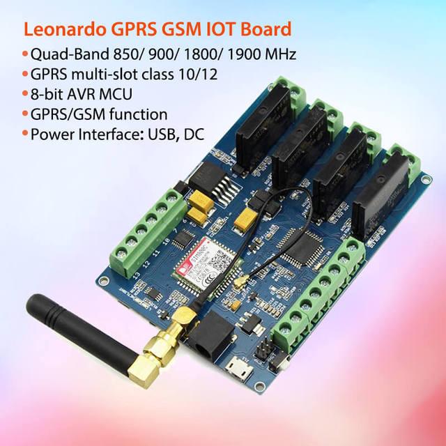 Elecrow Leonardo Gprs Gsm Iot Board Met SIM800C Relais Schakelt Draadloze Projecten Diy Kit Geïntegreerde Board Met 8 Bit avr Mcu