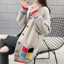Long Cardigan Sweater Winter Jacket Women Autumn  Knitted Female Loose Blue Plus Size  Sweater V Elasticity Thick Warm Knit women autumn winter leopard cardigan sweater coat female long sleeve plus size outer knitted tops pull warm thick blue