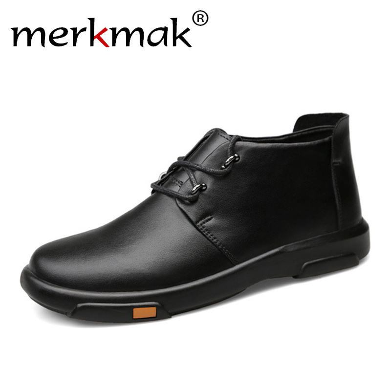 Merkmak Genuine Leather Men Ankle Boots Fashion Waterproof Autumn Winter Outdoor Mens Casual Shoes High Top Footwear merkmak genuine leather men waterproof shoes men casual sneakers fashion ankle boots for men high top winter men shoes size 47