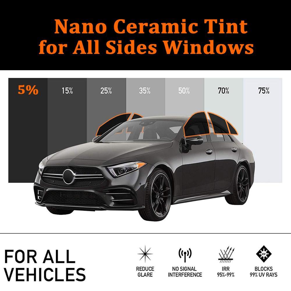 100 pieds 5% VLT Nano céramique Film solaire voiture soleil ombre fenêtre teinte Film Auto fenêtre latérale maison commerciale Protection solaire vinyle