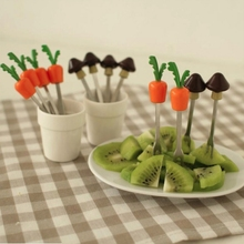 Mini Portable Kitchen Tool Stainless Steel Fun Fruit Fork Cake Dessert Forks Lovely Creative with Storage Holder