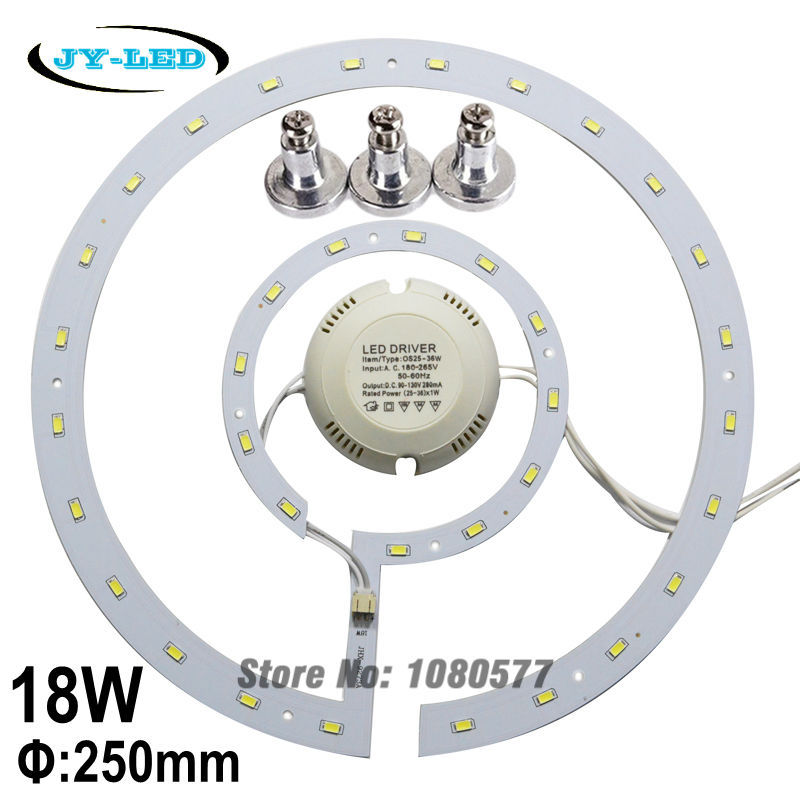 SMD5730 18w LED Ceiling Light Panel Board LED Remould Plate Round Disc Lights With Magnet Screw + Driver 28w x2 smd 5730 ceiling light pcb retrofit magnet board led ring light panel remoulding plate with driver and magnet screw