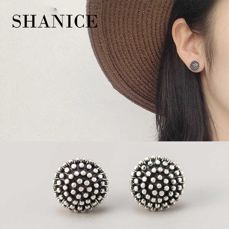 SHANICE 925 sterling silver fashion thai silver flower style with beads stud earring stud earrings jewelry Retro Jewelry Gifts