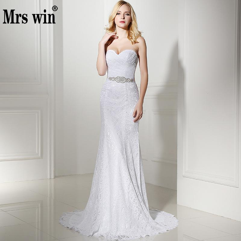 2019 White Merimaid Wedding Gown Lace Simple Wedding Dress 2019 Vintage Sash Vestido De Noiva