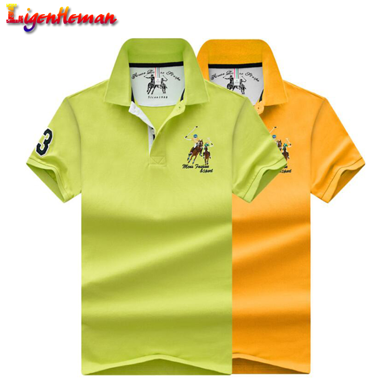 Pure color embroidery lapel soft men short sleeves   polo   shirt High Quality Tops Men   Polo   shirts Business plus size   polo   Shirts