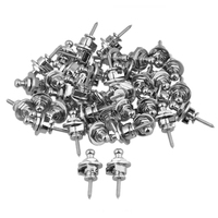 Yibuy 40xChrome Round Head Strap Locks Pins Button Knobs Guitar Secure System