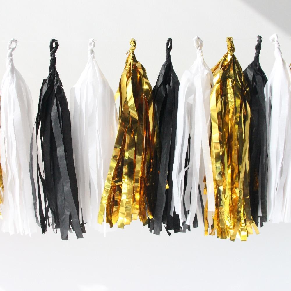 Bright Idea! 20pc (White,Black,Gold) Set Stunning Handmade Tissue Paper Tassel Garland Tissue Paper Fringe Bunting Diy Garland