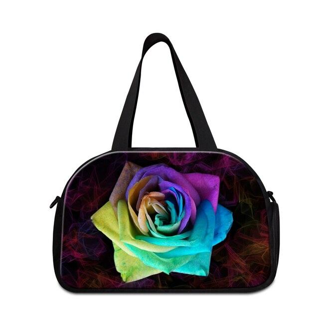 Dispalang colorido charme flor rosa das mulheres multifuncionais sacos grandes senhoras de capacidade saco da bagagem do duffle sacos de viagem duffel
