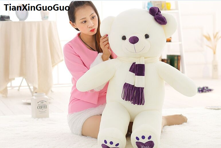 stuffed toy love you bear plush toy large 100cm white teddy Bear,purple scarf bear doll soft pillow birthday gift b1020 fancytrader seal plush baby doll large stuffed cartoon animal arctic seal toy white bear kids gift pillow 39inches 100cm