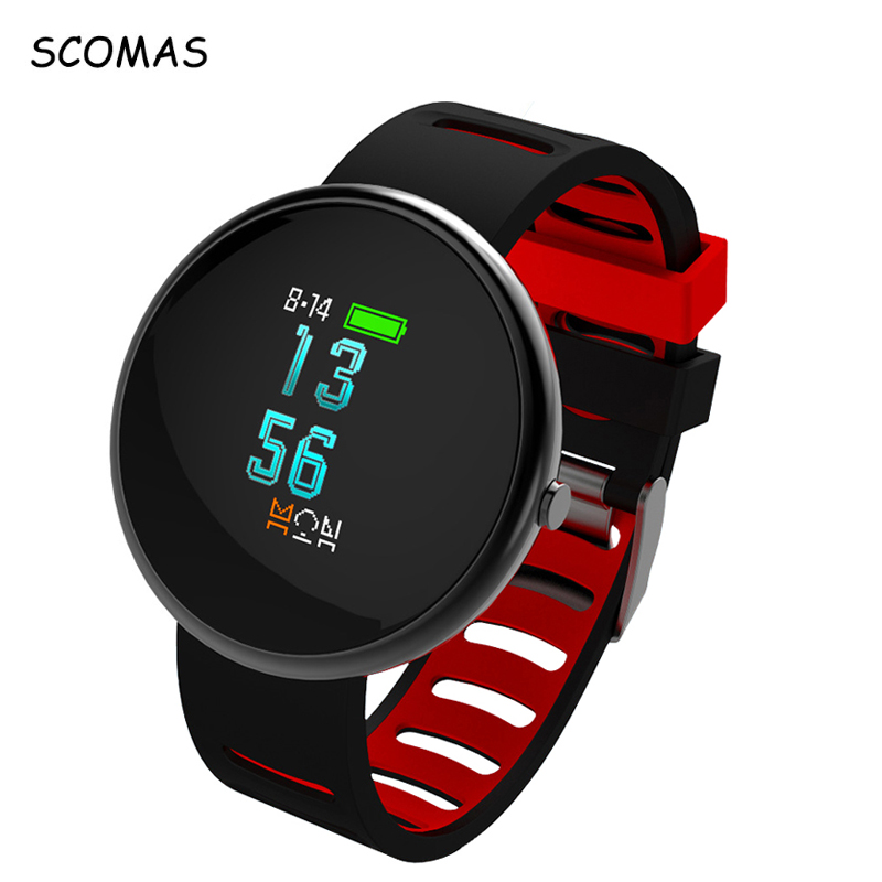 SCOMAS 0 95 OLED Color Display Smart Wrist Watch Heart Rate Monitor Blood Pressure Sports Pedometer