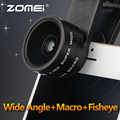 ZOMEI 3 in 1 Universal Mobile Phone lens 0.36X Wide Angle+Macro+Fisheye camera lens for i Phone6/7 Huawei Samsung Smartphone
