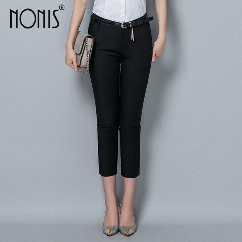 Nonis Formal ladies office work wear trousers Fall women OL style black capris pants female pencil pants plus size 4XL