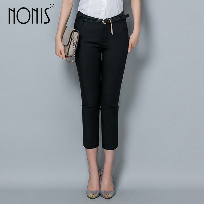 Nonis Formal ladies office work wear trousers 2017 Fall women OL style black   capris     pants   female pencil   pants   plus size 4XL