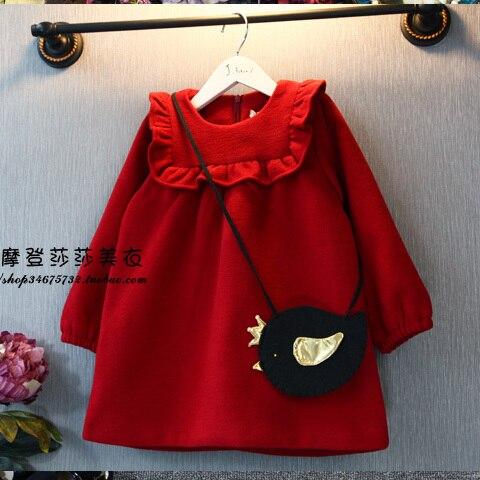 ce7265489 OFERTA ESPECIAL vestido de tela para niña primavera Otoño Invierno Polar de  una pieza Vestido de