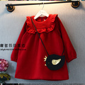 Oferta especial bebê pano dress primavera outono inverno do velo da menina one piece-dress manga longa pano dress menina's pano vermelho