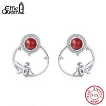 Effie Queen 925 Sterling Silver Women Earrings Red Garnet AAA CZ Cute Fairy Round Stud Earing Natural Stone Jewelry BE99